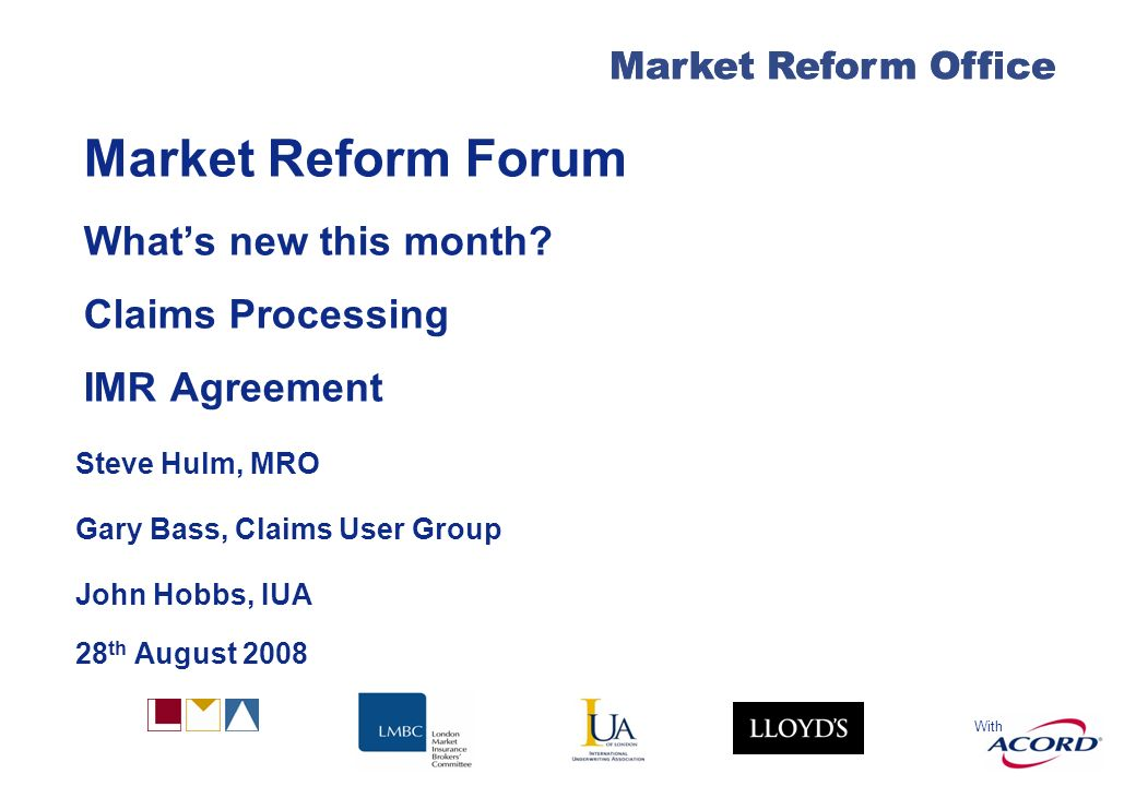 With Market Reform Office Market Reform Forum Whats new this month.