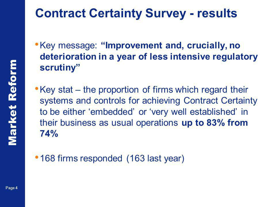 Market Reform Page 4 Contract Certainty Survey - results Key message: Improvement and, crucially, no deterioration in a year of less intensive regulatory scrutiny Key stat – the proportion of firms which regard their systems and controls for achieving Contract Certainty to be either embedded or very well established in their business as usual operations up to 83% from 74% 168 firms responded (163 last year)