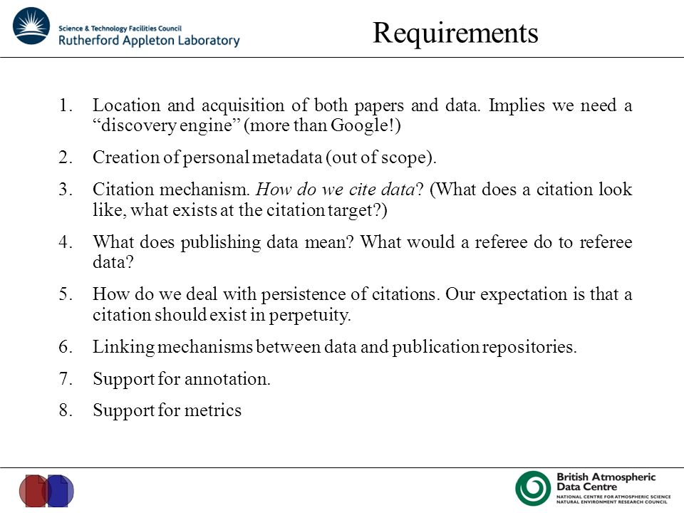 Requirements 1.Location and acquisition of both papers and data.