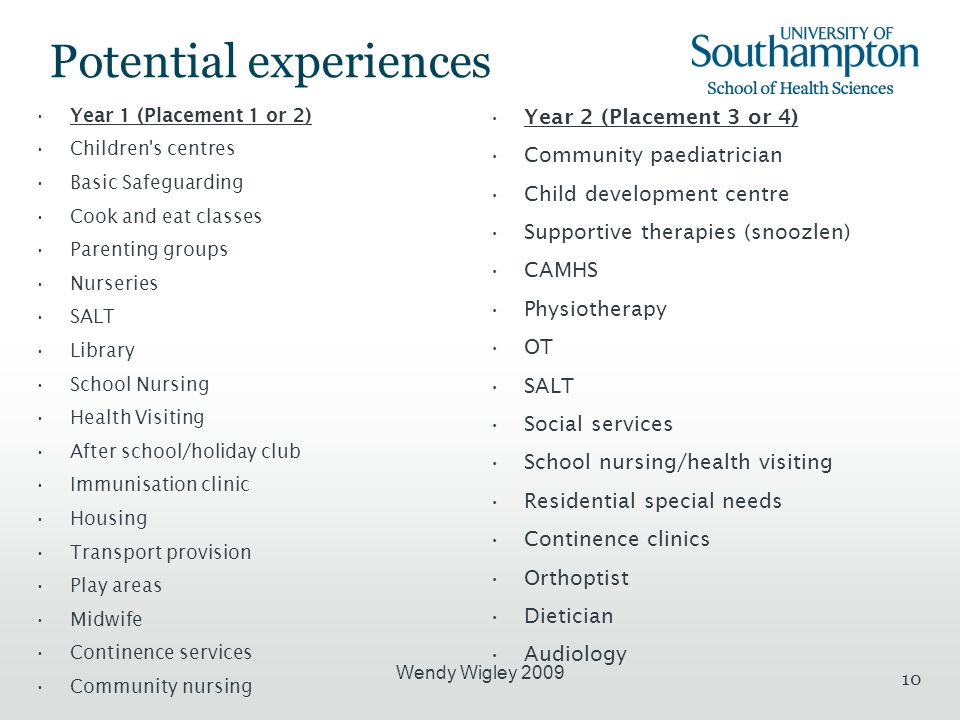 Wendy Wigley 2009 10 Potential experiences Year 1 (Placement 1 or 2) Children s centres Basic Safeguarding Cook and eat classes Parenting groups Nurseries SALT Library School Nursing Health Visiting After school/holiday club Immunisation clinic Housing Transport provision Play areas Midwife Continence services Community nursing Year 2 (Placement 3 or 4) Community paediatrician Child development centre Supportive therapies (snoozlen) CAMHS Physiotherapy OT SALT Social services School nursing/health visiting Residential special needs Continence clinics Orthoptist Dietician Audiology