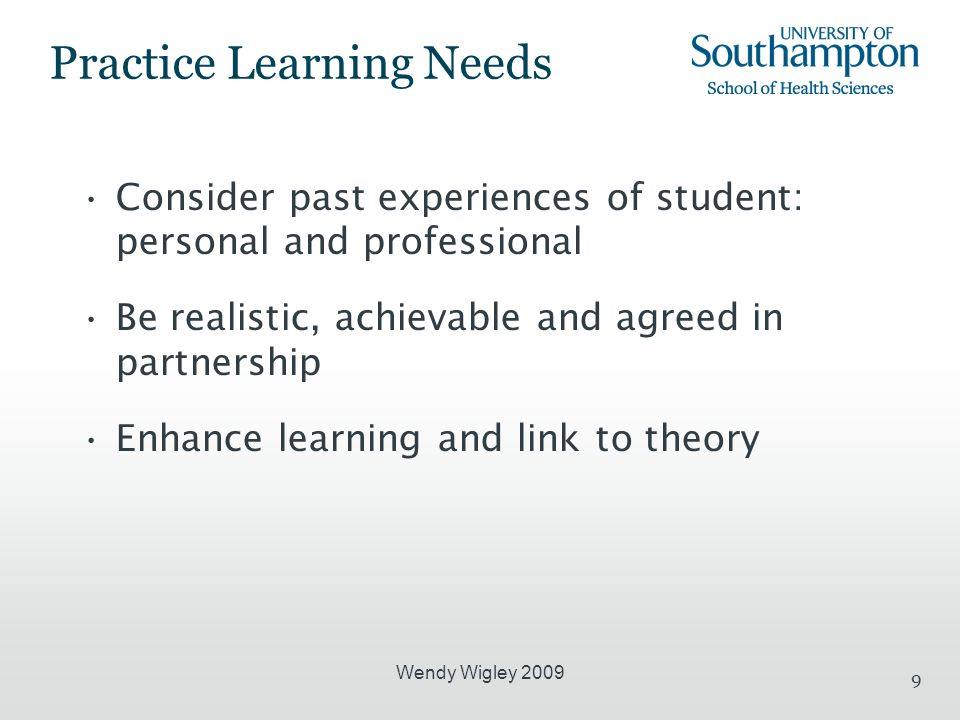 Wendy Wigley 2009 9 Practice Learning Needs Consider past experiences of student: personal and professional Be realistic, achievable and agreed in partnership Enhance learning and link to theory