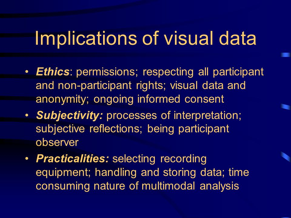 Implications of visual data Ethics: permissions; respecting all participant and non-participant rights; visual data and anonymity; ongoing informed consent Subjectivity: processes of interpretation; subjective reflections; being participant observer Practicalities: selecting recording equipment; handling and storing data; time consuming nature of multimodal analysis
