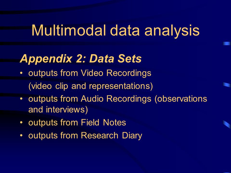 Multimodal data analysis Appendix 2: Data Sets outputs from Video Recordings (video clip and representations) outputs from Audio Recordings (observations and interviews) outputs from Field Notes outputs from Research Diary