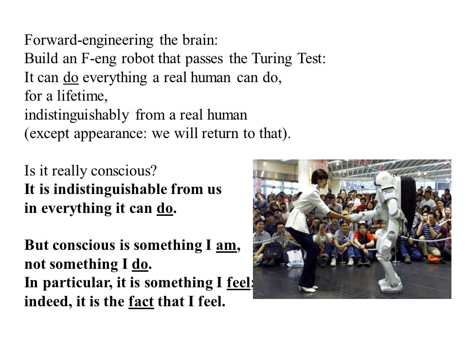 Forward-engineering the brain: Build an F-eng robot that passes the Turing Test: It can do everything a real human can do, for a lifetime, indistinguishably from a real human (except appearance: we will return to that).