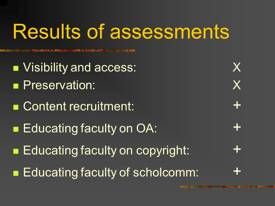 Results of assessments Visibility and access:X Preservation:X Content recruitment: + Educating faculty on OA: + Educating faculty on copyright: + Educating faculty of scholcomm: +