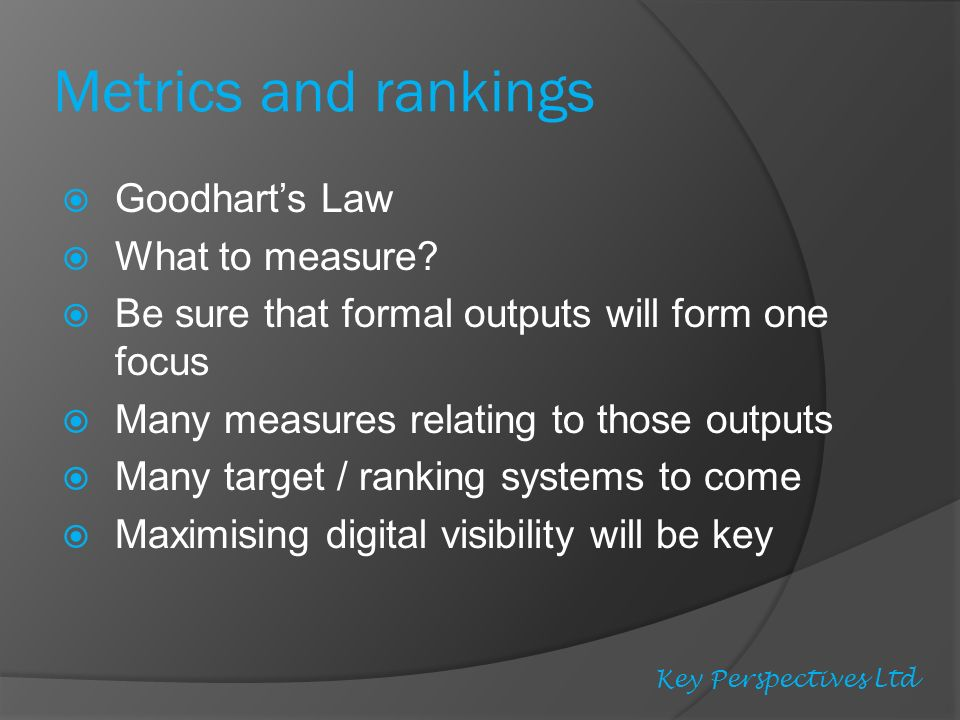 Metrics and rankings Goodharts Law What to measure.
