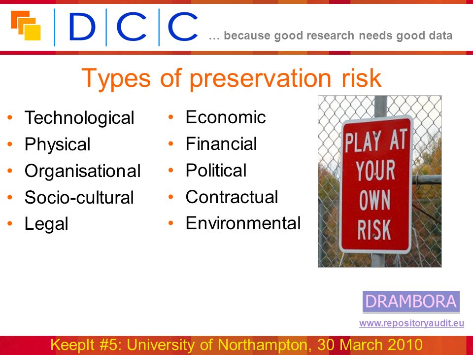… because good research needs good data KeepIt #5: University of Northampton, 30 March 2010 www.repositoryaudit.eu Types of preservation risk Economic Financial Political Contractual Environmental Technological Physical Organisational Socio-cultural Legal