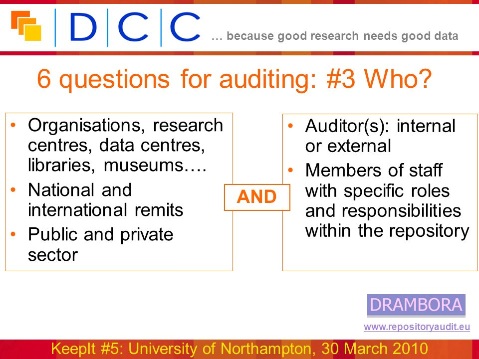 … because good research needs good data KeepIt #5: University of Northampton, 30 March 2010 www.repositoryaudit.eu 6 questions for auditing: #3 Who.