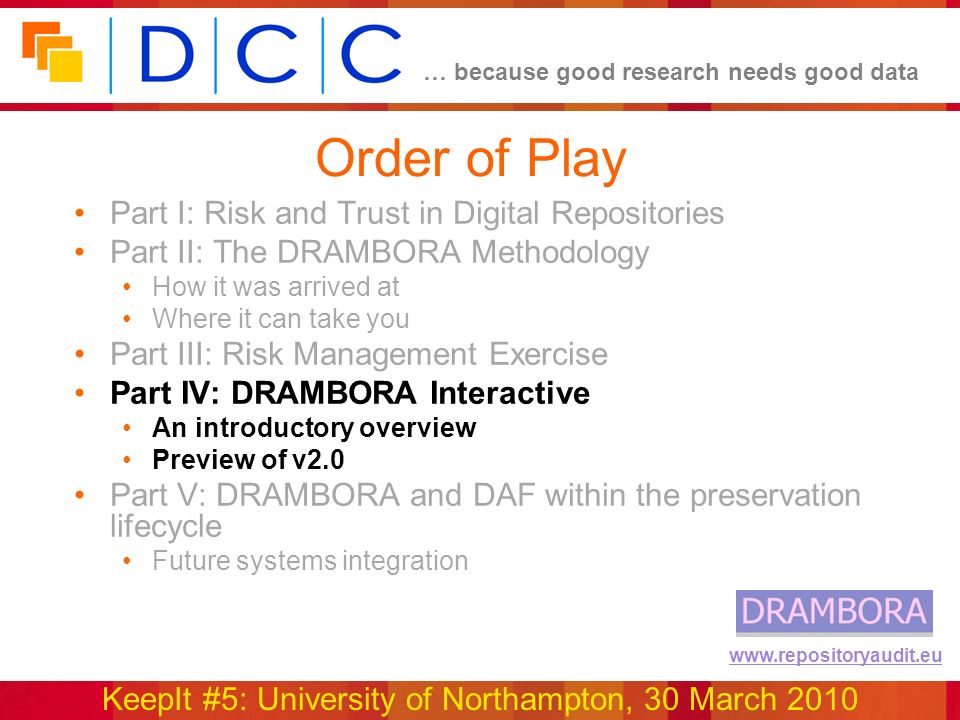 … because good research needs good data KeepIt #5: University of Northampton, 30 March 2010 www.repositoryaudit.eu Order of Play Part I: Risk and Trust in Digital Repositories Part II: The DRAMBORA Methodology How it was arrived at Where it can take you Part III: Risk Management Exercise Part IV: DRAMBORA Interactive An introductory overview Preview of v2.0 Part V: DRAMBORA and DAF within the preservation lifecycle Future systems integration