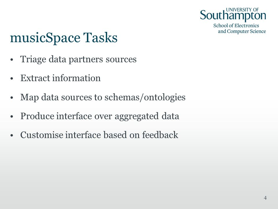 musicSpace Tasks Triage data partners sources Extract information Map data sources to schemas/ontologies Produce interface over aggregated data Customise interface based on feedback 4