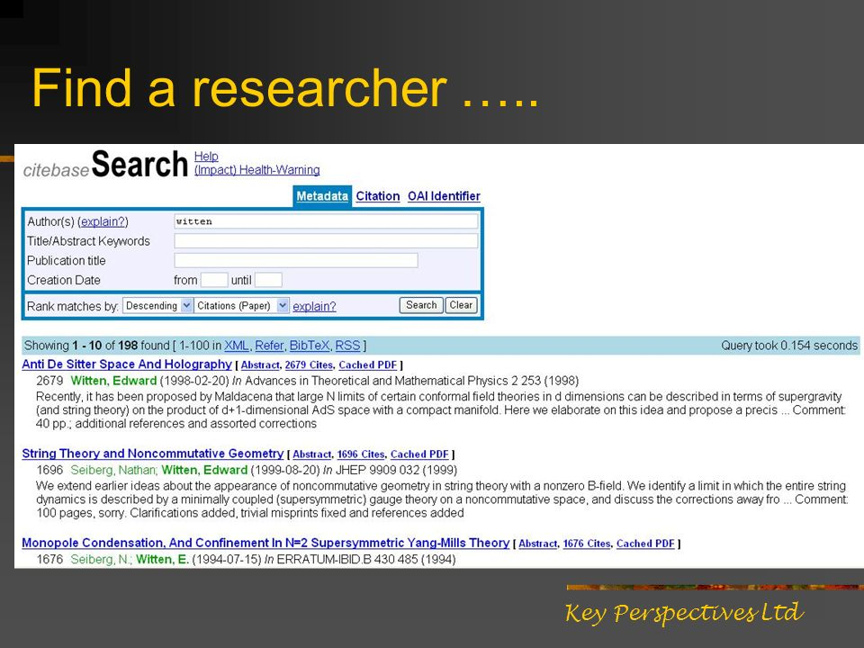 Find a researcher ….. Key Perspectives Ltd
