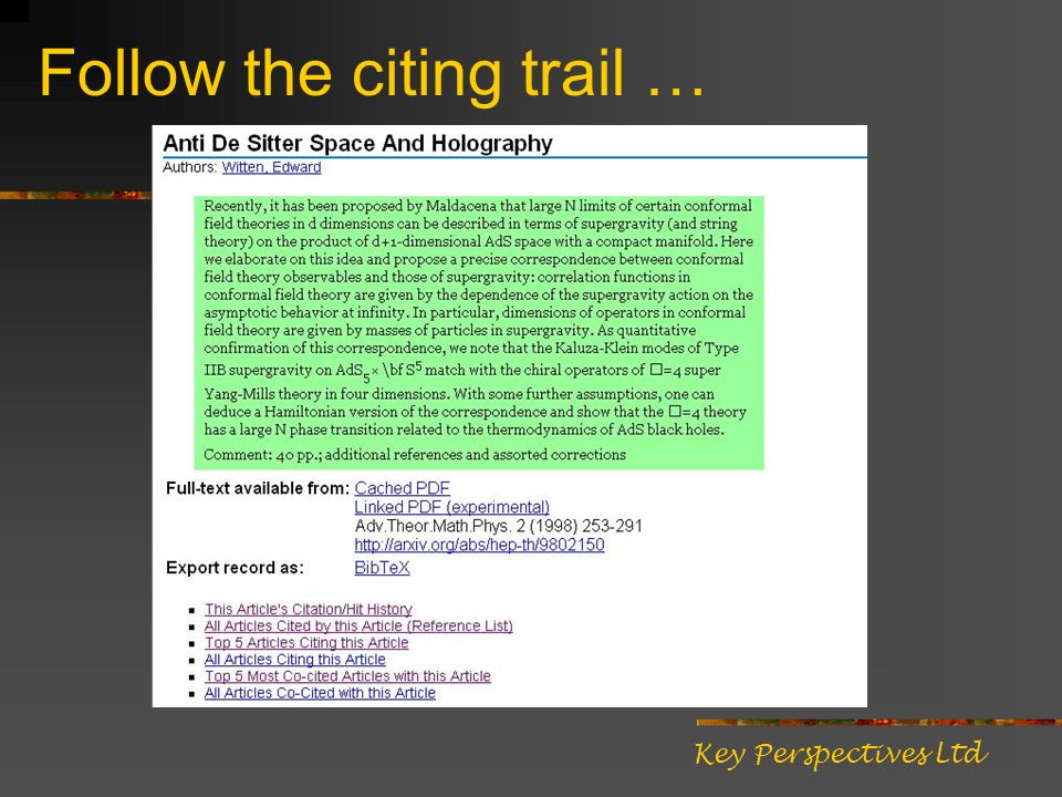 Follow the citing trail … Key Perspectives Ltd