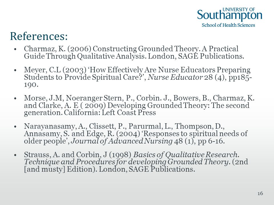 16 References: Charmaz, K. (2006) Constructing Grounded Theory.