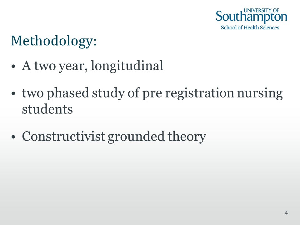 4 Methodology: A two year, longitudinal two phased study of pre registration nursing students Constructivist grounded theory