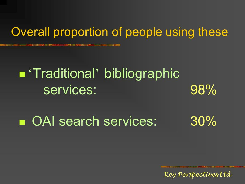 Overall proportion of people using these Traditional bibliographic services: 98% OAI search services: 30% Key Perspectives Ltd