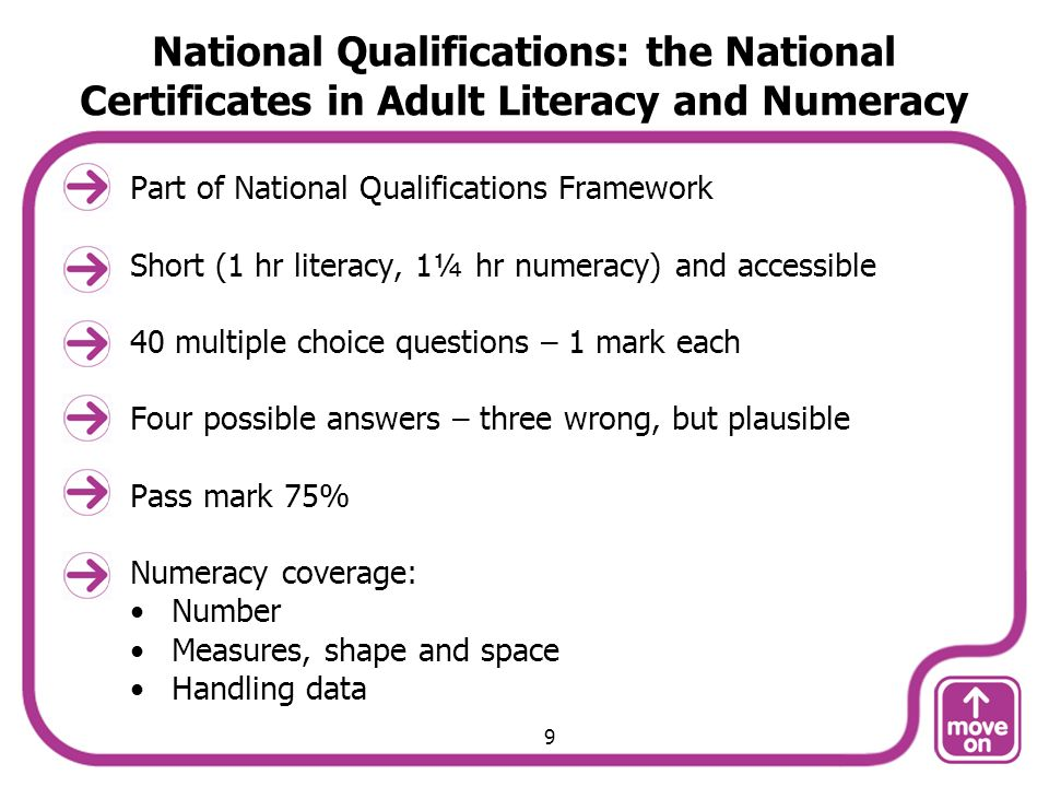 National Qualifications: the National Certificates in Adult Literacy and Numeracy Part of National Qualifications Framework Short (1 hr literacy, 1¼ hr numeracy) and accessible 40 multiple choice questions – 1 mark each Four possible answers – three wrong, but plausible Pass mark 75% Numeracy coverage: Number Measures, shape and space Handling data 9