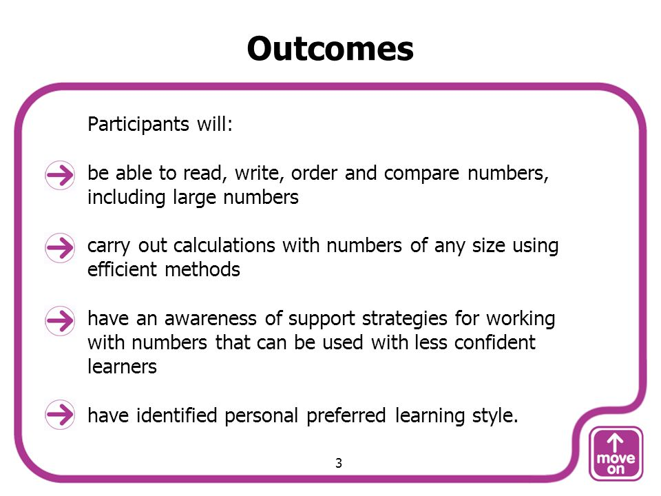 Outcomes Participants will: be able to read, write, order and compare numbers, including large numbers carry out calculations with numbers of any size using efficient methods have an awareness of support strategies for working with numbers that can be used with less confident learners have identified personal preferred learning style.