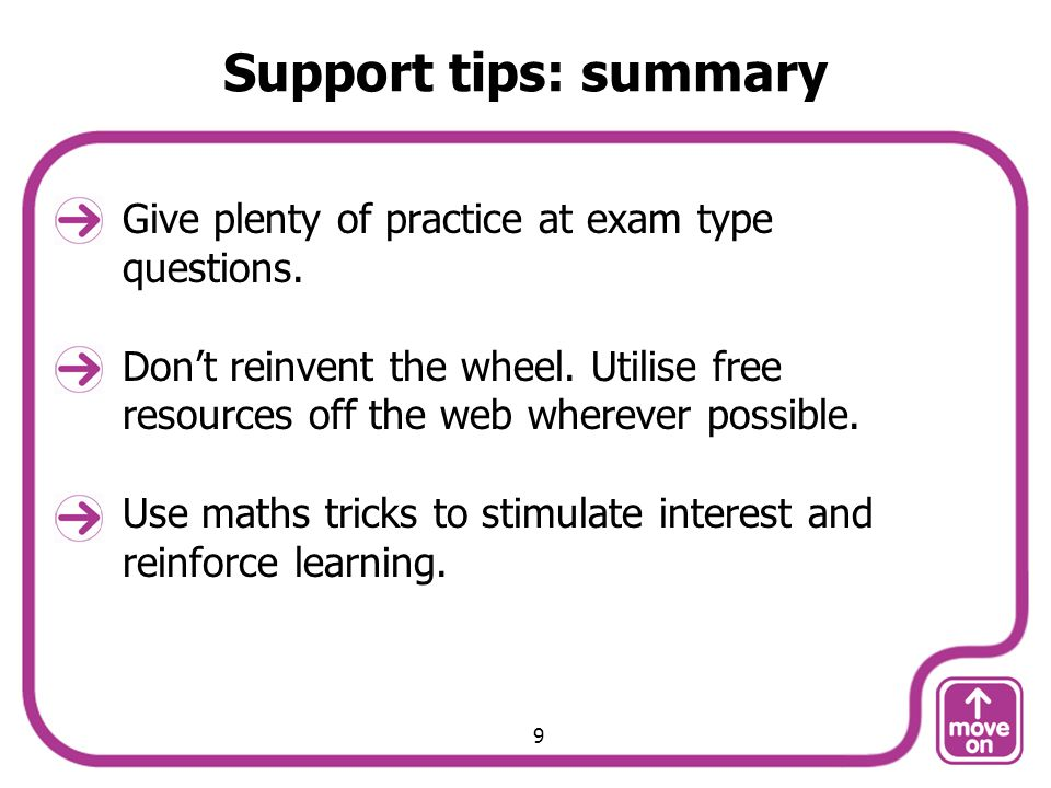 Support tips: summary Give plenty of practice at exam type questions.