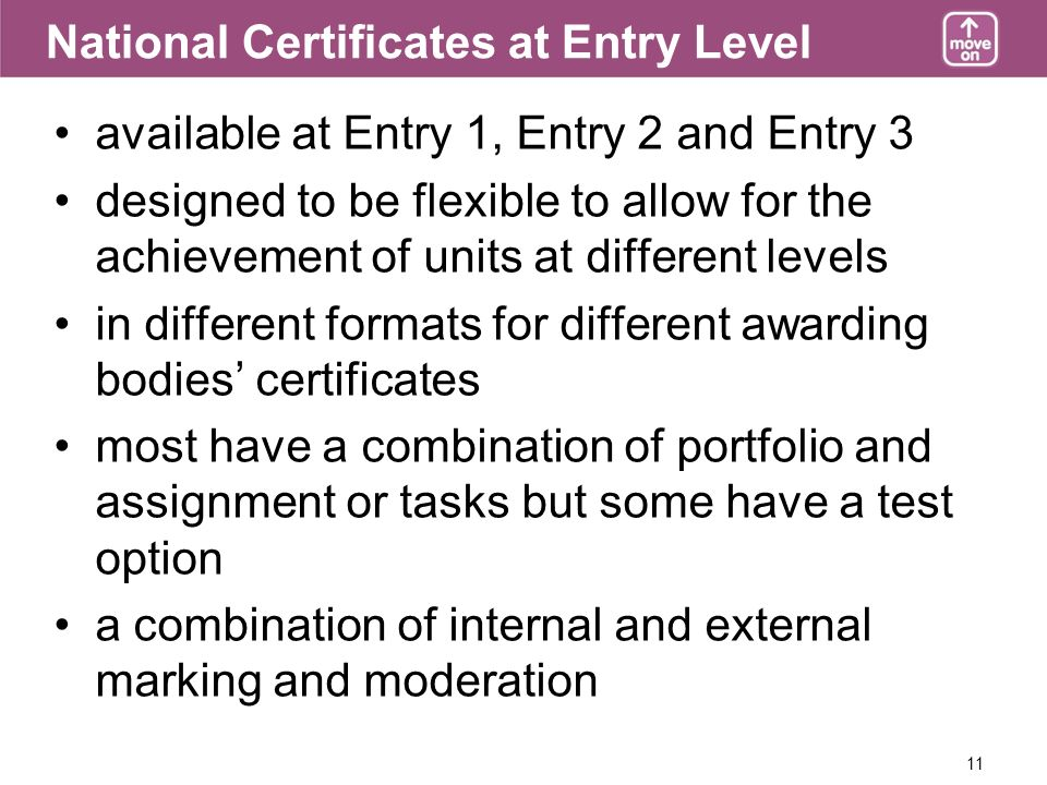 11 National Certificates at Entry Level available at Entry 1, Entry 2 and Entry 3 designed to be flexible to allow for the achievement of units at different levels in different formats for different awarding bodies certificates most have a combination of portfolio and assignment or tasks but some have a test option a combination of internal and external marking and moderation