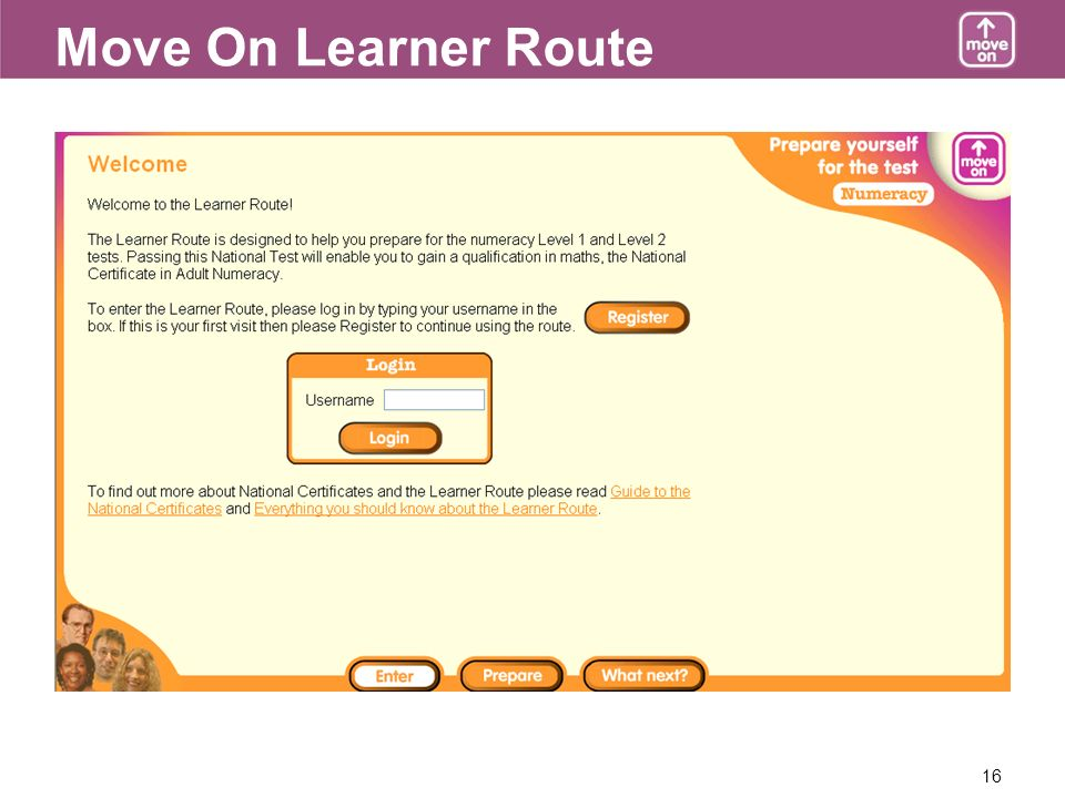16 Move On Learner Route