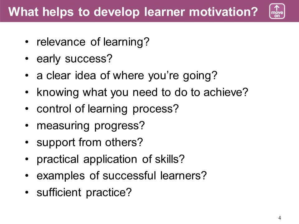 4 What helps to develop learner motivation. relevance of learning.