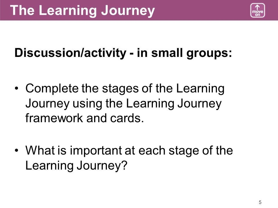 5 The Learning Journey Discussion/activity - in small groups: Complete the stages of the Learning Journey using the Learning Journey framework and cards.