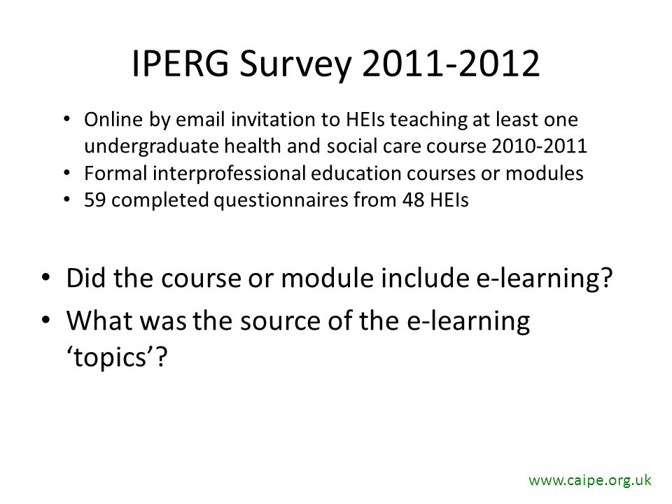 IPERG Survey 2011-2012 Did the course or module include e-learning.
