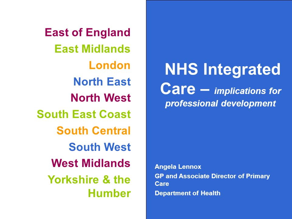East of England East Midlands London North East North West South East Coast South Central South West West Midlands Yorkshire & the Humber NHS Integrated Care – implications for professional development Angela Lennox GP and Associate Director of Primary Care Department of Health