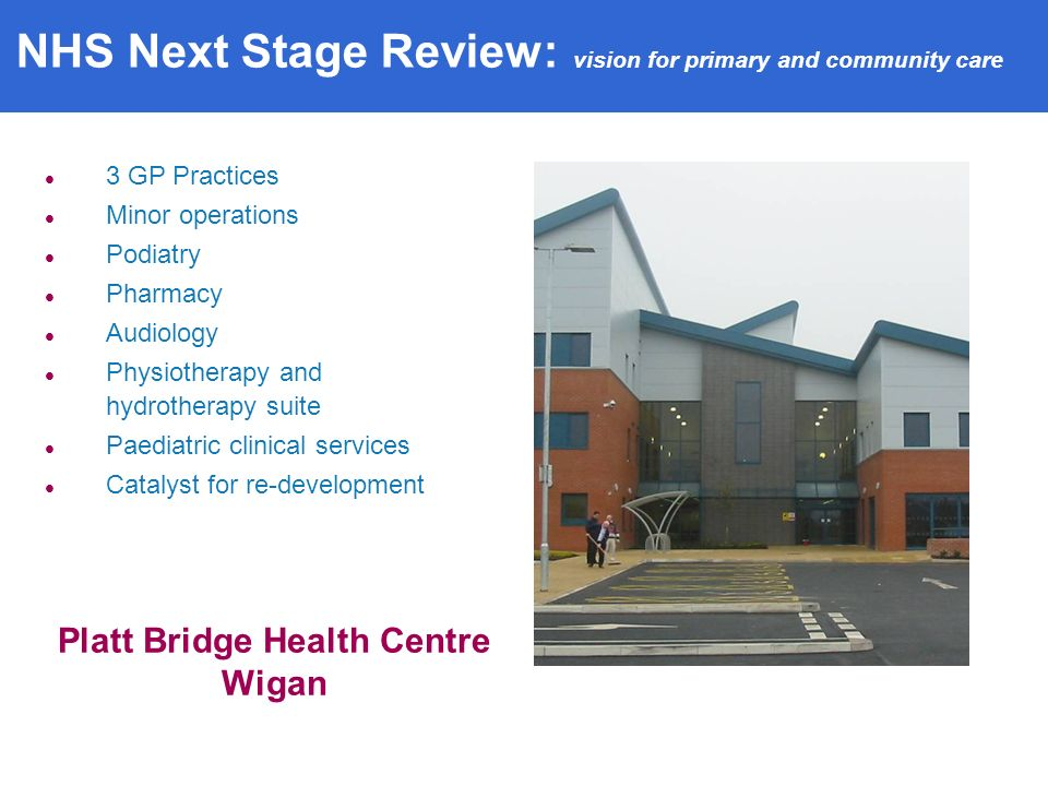 3 GP Practices Minor operations Podiatry Pharmacy Audiology Physiotherapy and hydrotherapy suite Paediatric clinical services Catalyst for re-development Platt Bridge Health Centre Wigan NHS Next Stage Review: vision for primary and community care