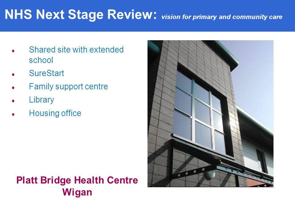 Shared site with extended school SureStart Family support centre Library Housing office Platt Bridge Health Centre Wigan NHS Next Stage Review: vision for primary and community care