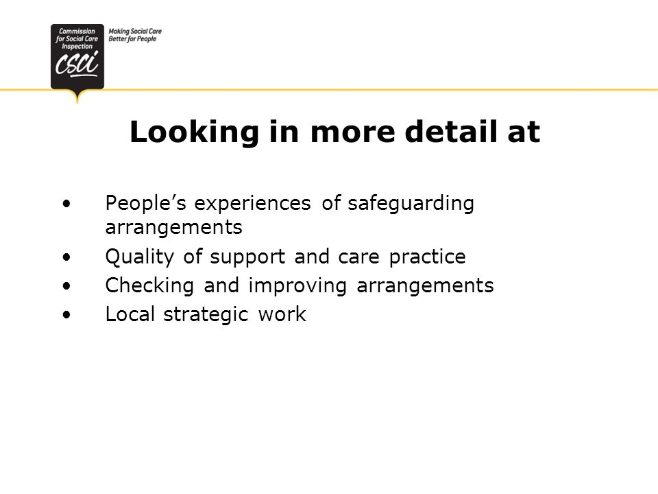 Looking in more detail at Peoples experiences of safeguarding arrangements Quality of support and care practice Checking and improving arrangements Local strategic work