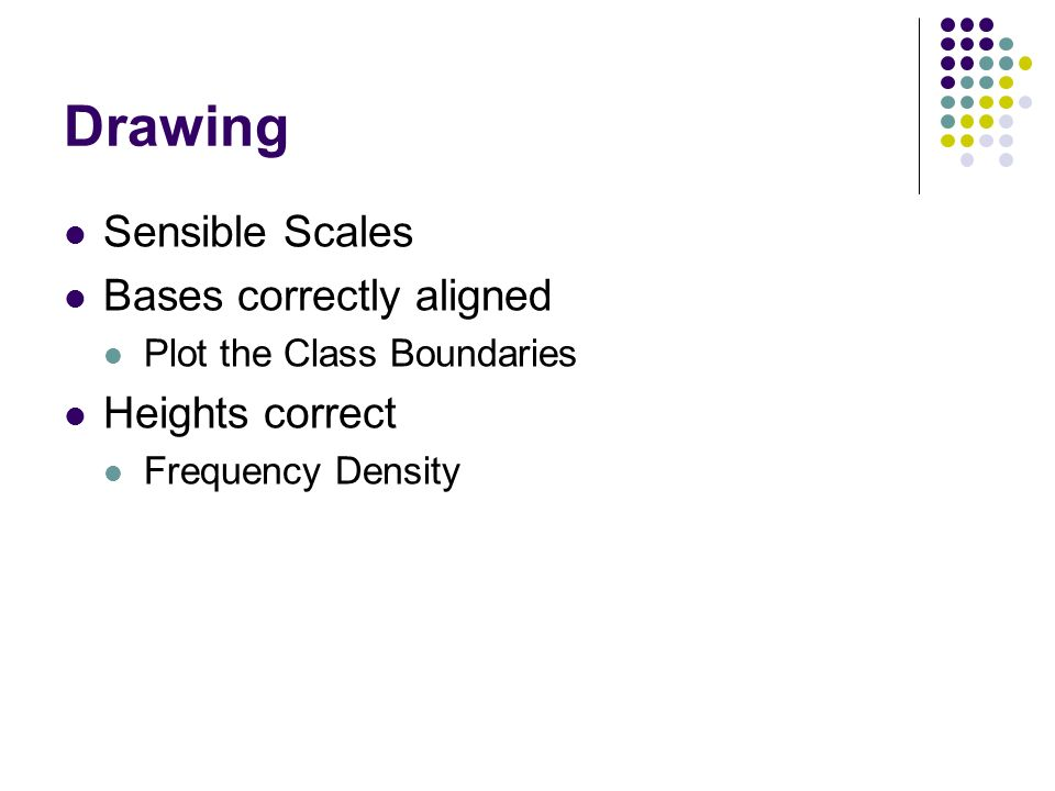 Drawing Sensible Scales Bases correctly aligned Plot the Class Boundaries Heights correct Frequency Density
