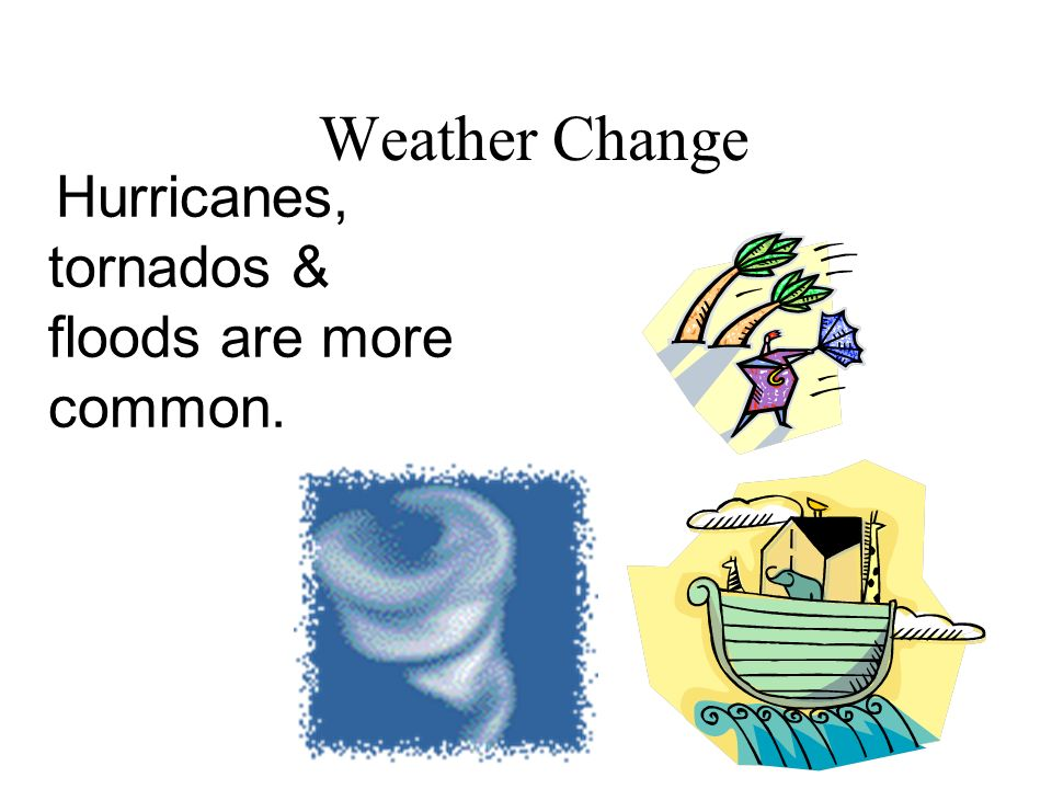 Hurricanes, tornados & floods are more common.