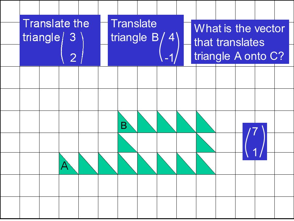 B Translate triangle B 4 C What is the vector that translates triangle A onto C 7 1