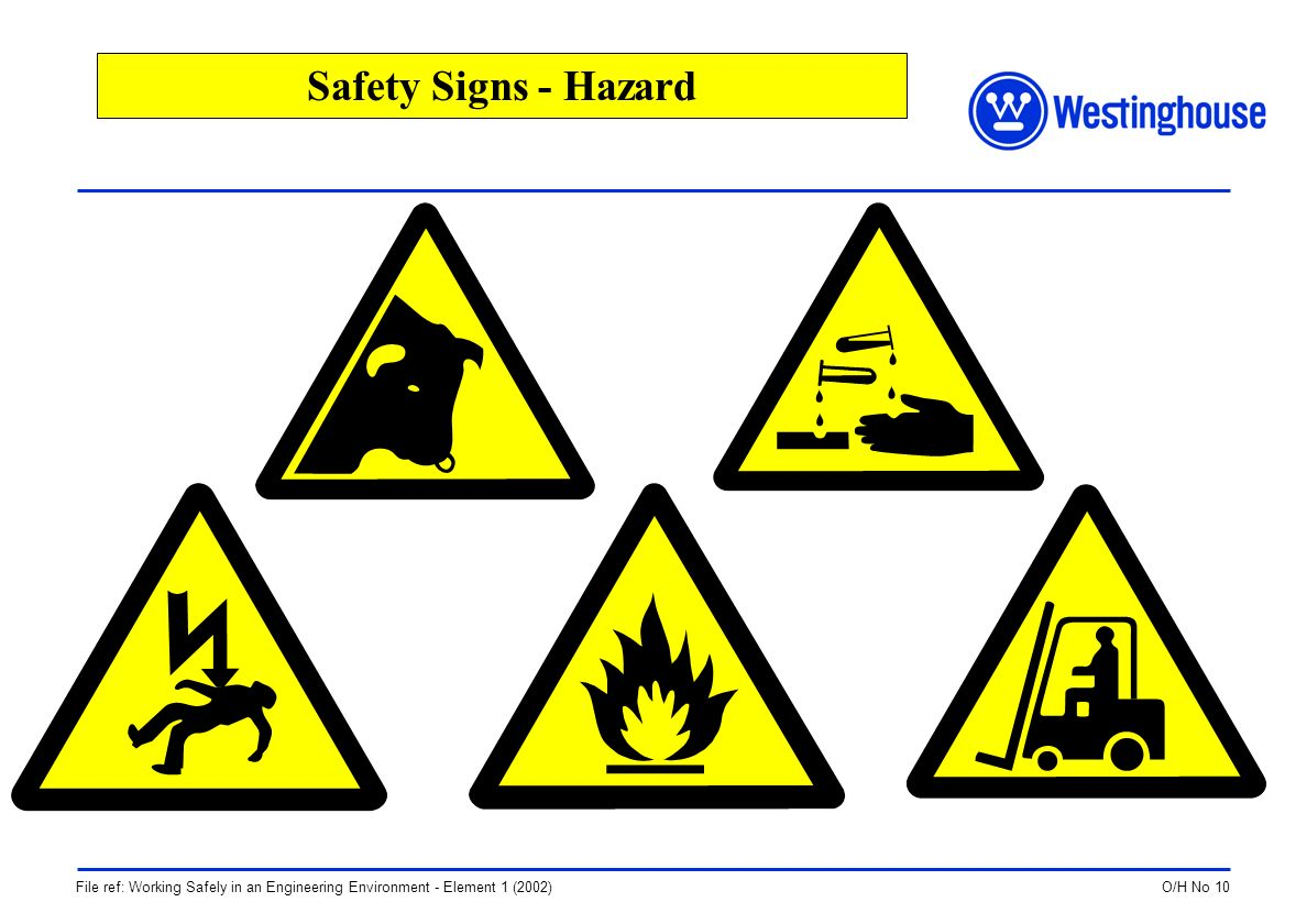 O/H No 10File ref: Working Safely in an Engineering Environment - Element 1 (2002) Safety Signs - Hazard