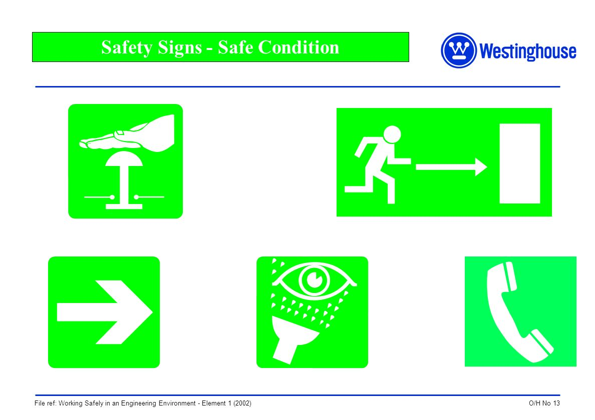 O/H No 13File ref: Working Safely in an Engineering Environment - Element 1 (2002) Safety Signs - Safe Condition