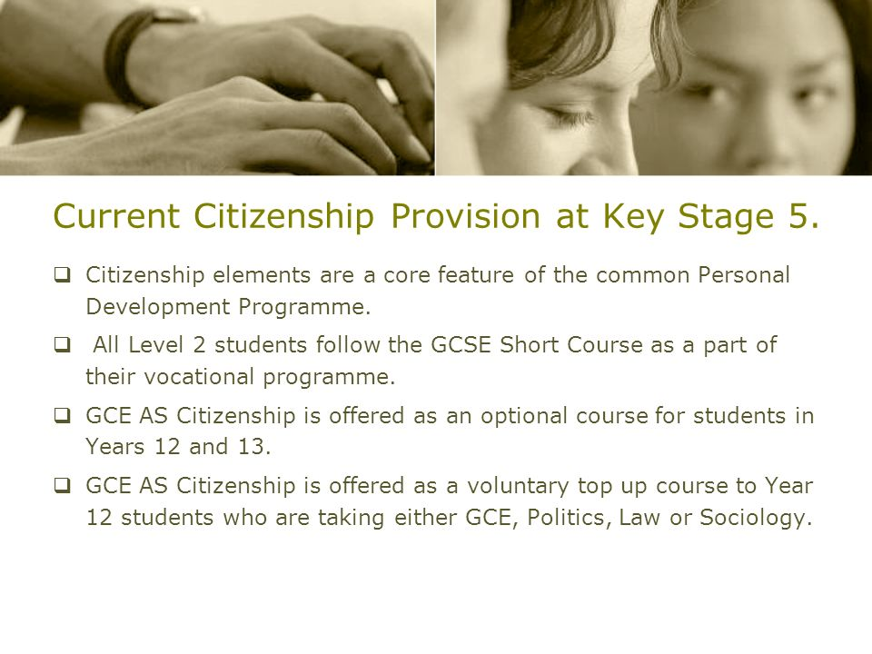 Current Citizenship Provision at Key Stage 5.