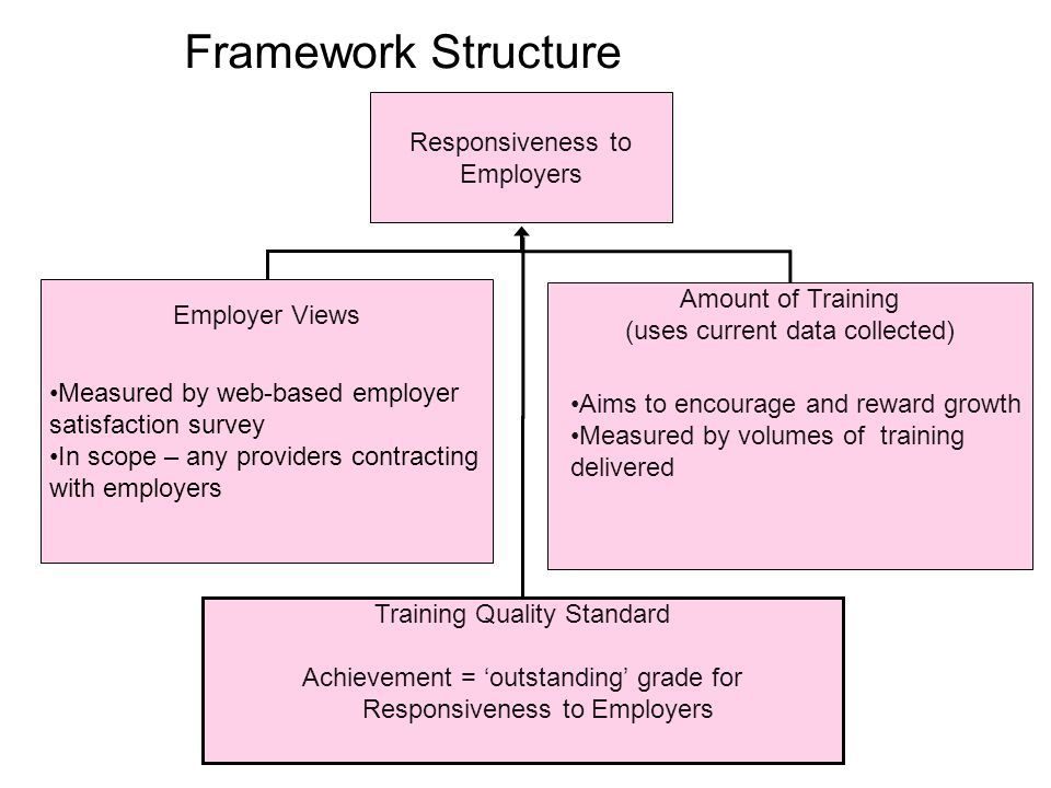 Responsiveness to Employers Employer Views Amount of Training (uses current data collected) Aims to encourage and reward growth Measured by volumes of training delivered Measured by web-based employer satisfaction survey In scope – any providers contracting with employers Training Quality Standard Achievement = outstanding grade for Responsiveness to Employers Framework Structure