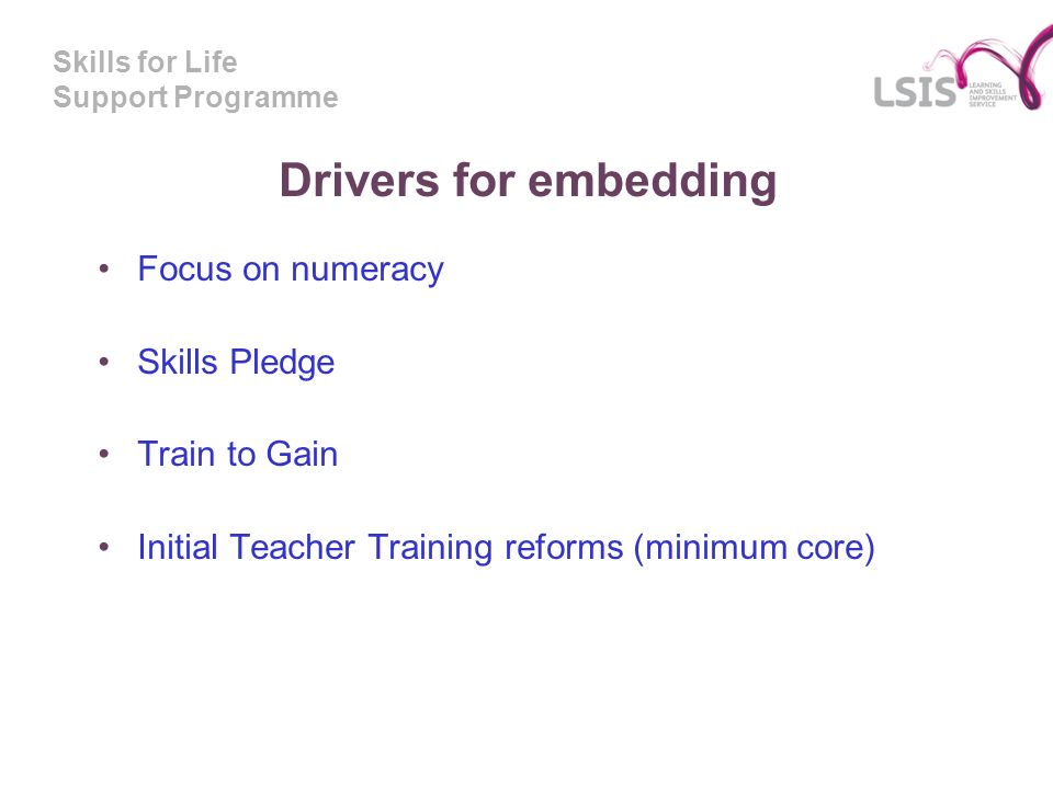 Skills for Life Support Programme Drivers for embedding Focus on numeracy Skills Pledge Train to Gain Initial Teacher Training reforms (minimum core)