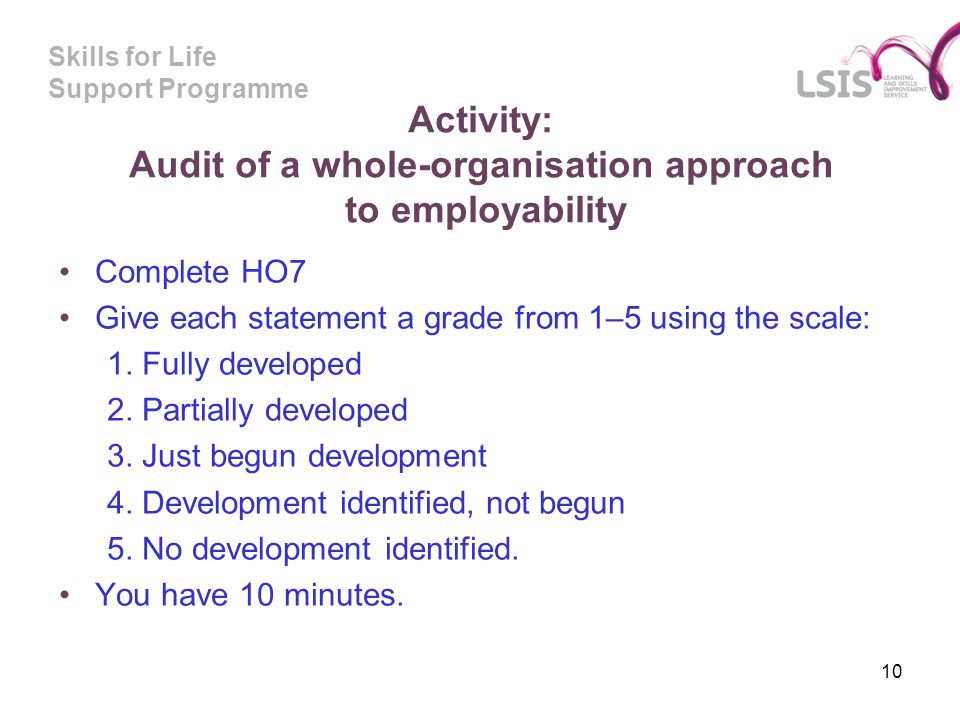 Skills for Life Support Programme Activity: Audit of a whole-organisation approach to employability Complete HO7 Give each statement a grade from 1–5 using the scale: 1.