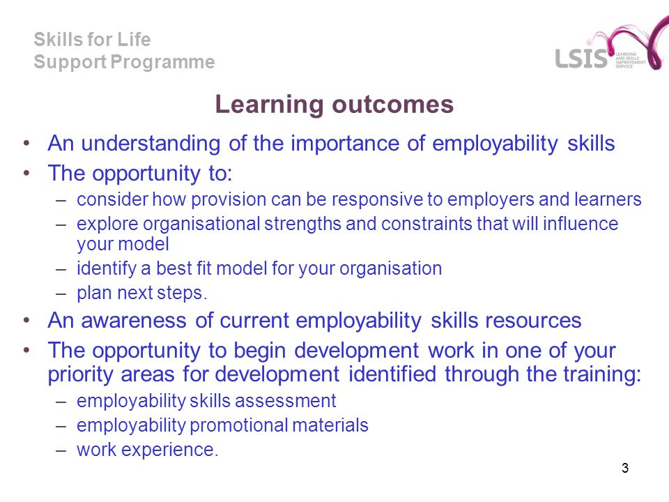 Skills for Life Support Programme Learning outcomes An understanding of the importance of employability skills The opportunity to: –consider how provision can be responsive to employers and learners –explore organisational strengths and constraints that will influence your model –identify a best fit model for your organisation –plan next steps.