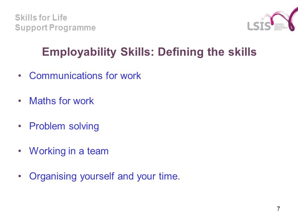 Skills for Life Support Programme Employability Skills: Defining the skills Communications for work Maths for work Problem solving Working in a team Organising yourself and your time.