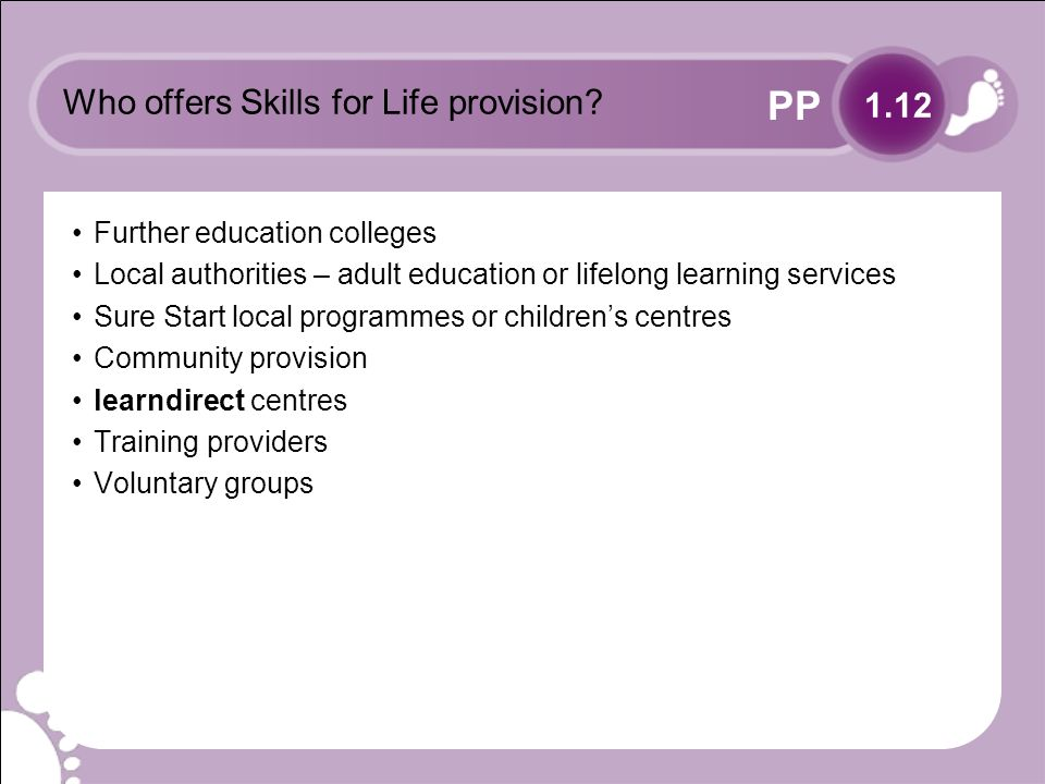 PP Who offers Skills for Life provision.