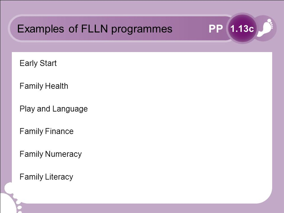 PP Examples of FLLN programmes Early Start Family Health Play and Language Family Finance Family Numeracy Family Literacy 1.13c