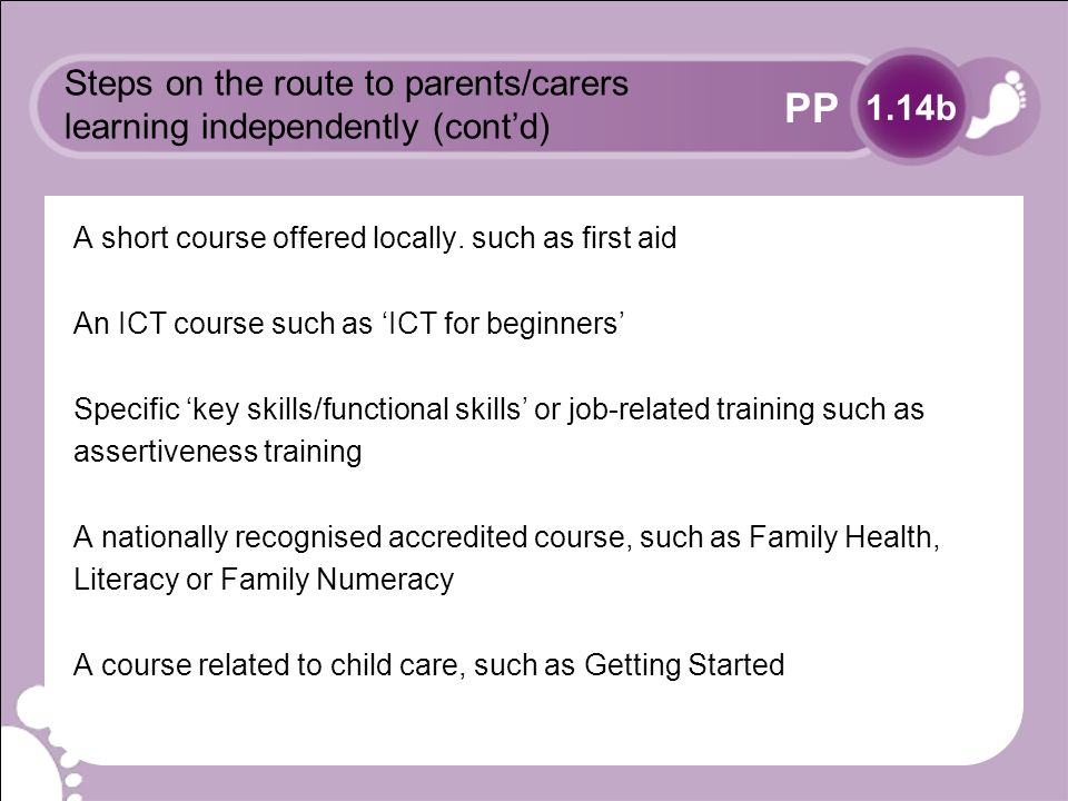 PP Steps on the route to parents/carers learning independently (contd) A short course offered locally.