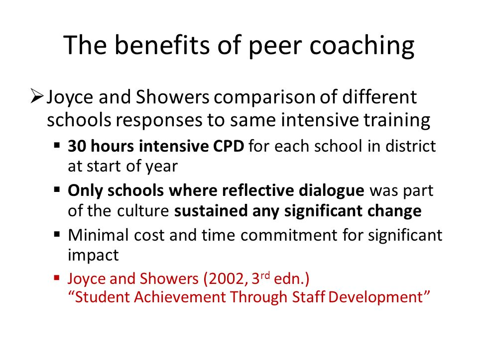 The benefits of peer coaching Joyce and Showers comparison of different schools responses to same intensive training 30 hours intensive CPD for each school in district at start of year Only schools where reflective dialogue was part of the culture sustained any significant change Minimal cost and time commitment for significant impact Joyce and Showers (2002, 3 rd edn.) Student Achievement Through Staff Development