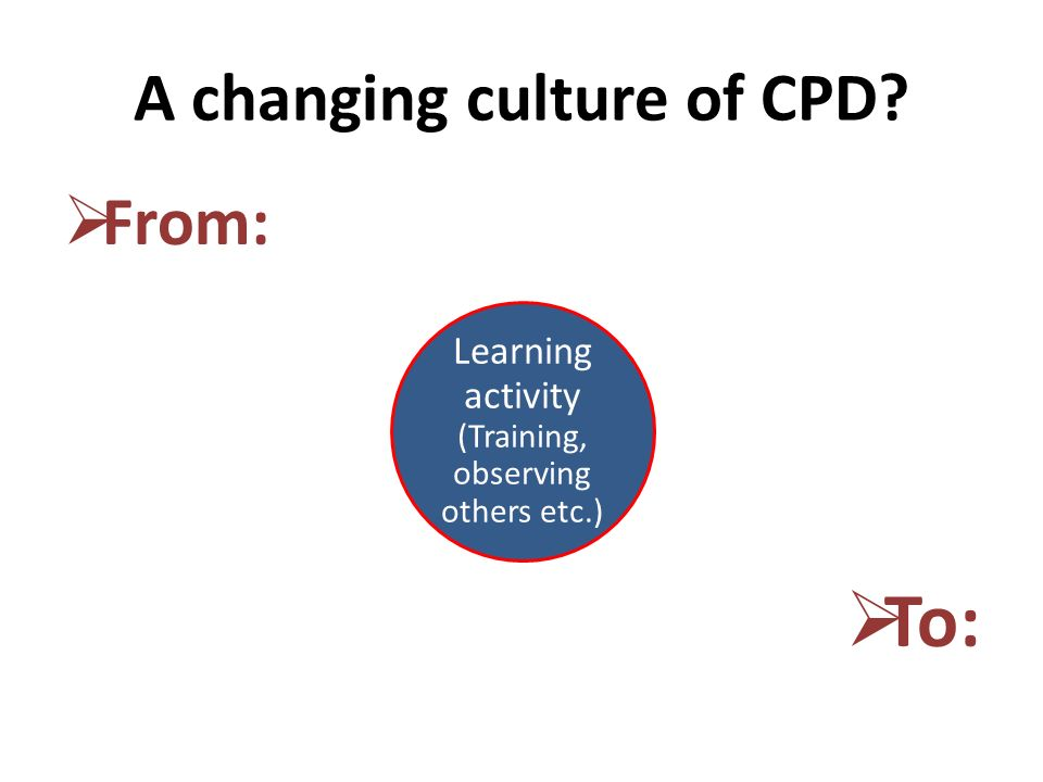 A changing culture of CPD From: To: Learning activity (Training, observing others etc.)