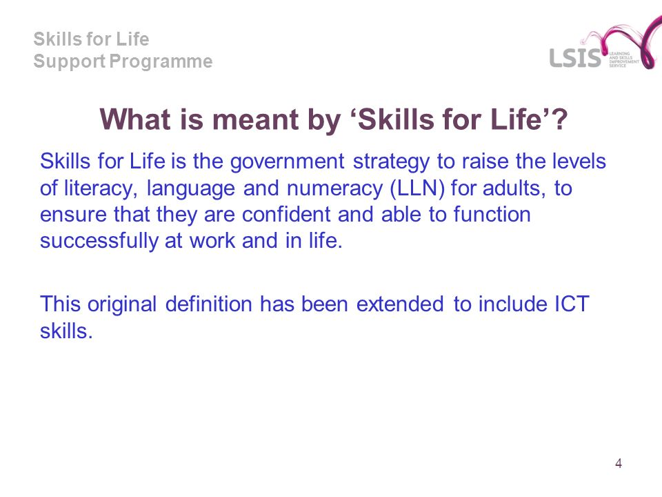 Skills for Life Support Programme What is meant by Skills for Life.