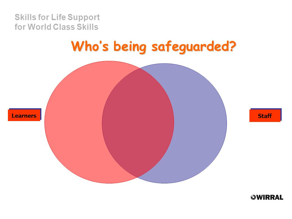Skills for Life Support for World Class Skills Whos being safeguarded LearnersStaff