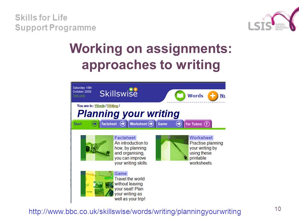 Skills for Life Support Programme Working on assignments: approaches to writing 10